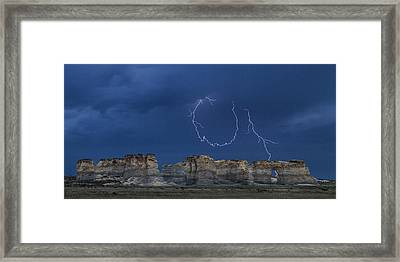 Lariat Lightning At Monument Rocks Framed Print