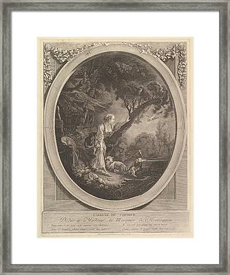 Lariv�e Du Courier The Arrival Framed Print by Jacques Firmin Beauvarlet