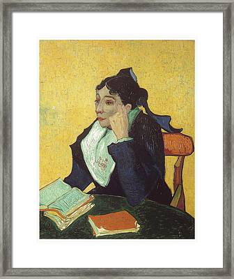L'arlesienne With Books Framed Print by Vincent Van Gogh