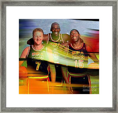 Larry Bird Michael Jordon And Magic Johnson Framed Print by Marvin Blaine