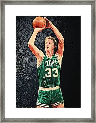 Larry Bird Framed Print by Taylan Apukovska