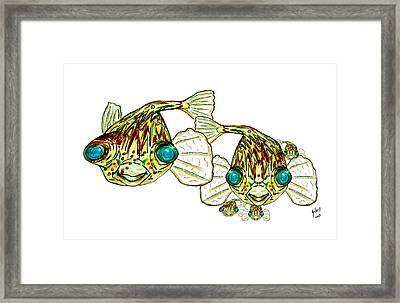 Puffer Fish Lary Loretta And Mini Puffs Framed Print