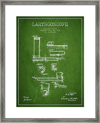 Laryngoscope Patent From 1937  - Green Framed Print by Aged Pixel