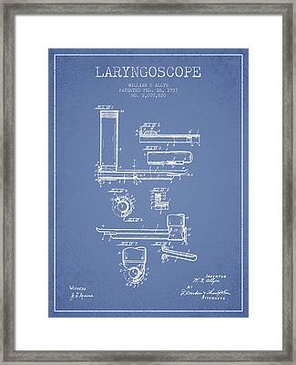 Laryngoscope Patent From 1937  - Light Blue Framed Print by Aged Pixel