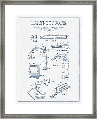 Laryngoscope Patent From 1989  - Blue Ink Framed Print by Aged Pixel