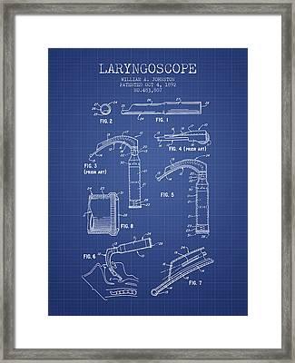 Laryngoscopy Patent From 1964 - Blueprint Framed Print