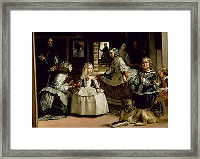 Las Meninas, Detail Of The Lower Half Depicting The Family Of Philip Iv Of Spain, 1656 Framed Print by Diego Rodriguez de Silva y Velazquez