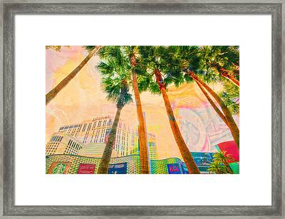 Las Vegas And Palm Trees Framed Print by Susan Stone