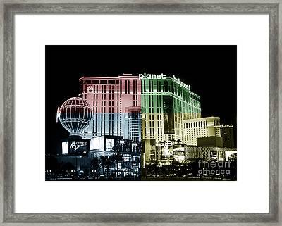 Las Vegas At Night Fusion Framed Print
