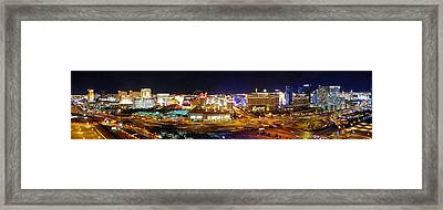 Las Vegas At Night - Panorama Framed Print