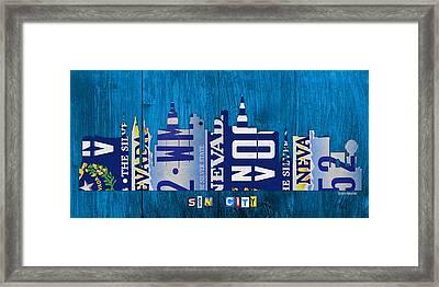 Las Vegas Nevada City Skyline License Plate Art On Wood Framed Print