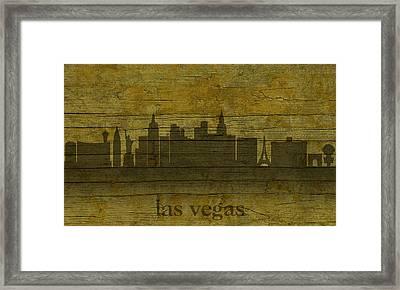 Las Vegas Nevada City Skyline Silhouette Distressed On Worn Peeling Wood Framed Print