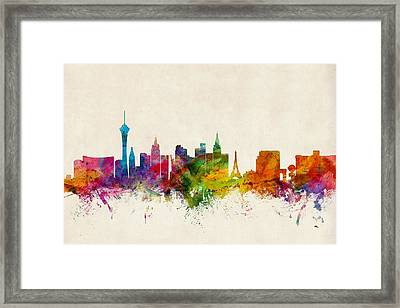 Las Vegas Nevada Skyline Framed Print by Michael Tompsett