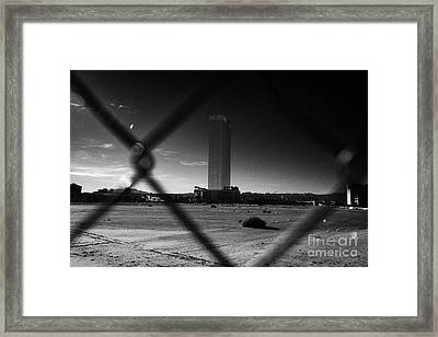 Las Vegas Plaza Chain Link Fence Around Empty Vacant Unused Lot With View Towards The Trump Tower On Framed Print