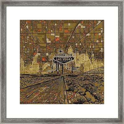 Las Vegas Skyline Abstract 2 Framed Print