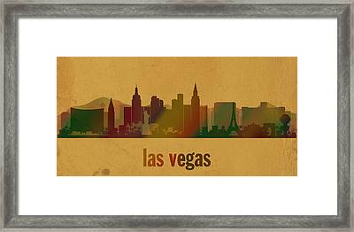 Las Vegas Skyline Watercolor On Parchment Framed Print