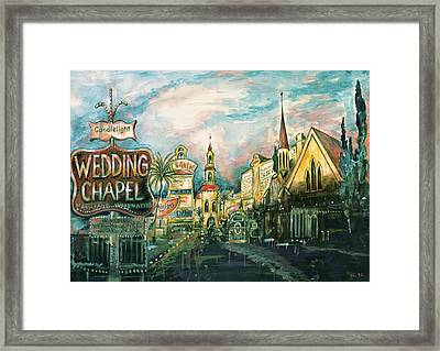 Las Vegas Strip - Watercolor Art Framed Print by Art America Gallery Peter Potter