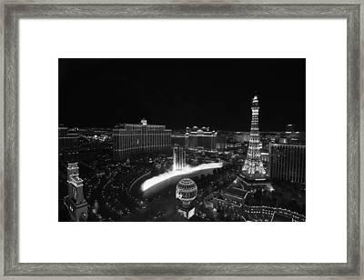 Las Vegas Strip And Fountains Black And White Framed Print by Stephanie McDowell