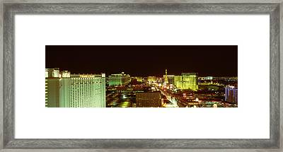 Las Vegas Strip At Night Las Vegas Nv Framed Print