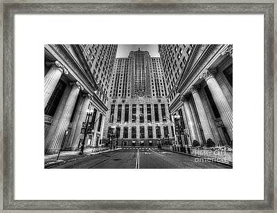 Lasalle Street In Chicago In Black And White Framed Print by Twenty Two North Photography