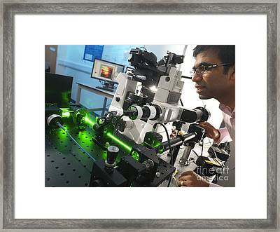 Laser Microscope Experiment Framed Print by Andrew Brookes, National Physical Laboratory