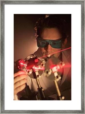 Laser Research Framed Print by Crown Copyright/health & Safety Laboratory Science Photo Library