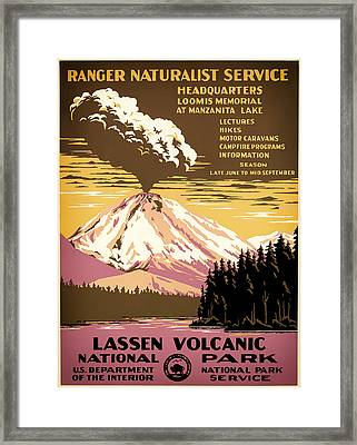 Lassen Volcanic National Park Travel Poster 1938 Framed Print by Mountain Dreams
