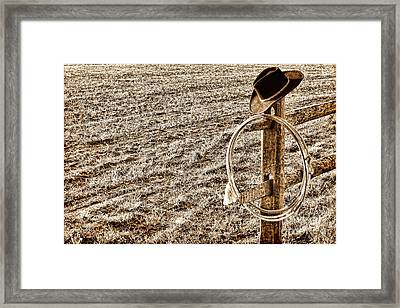 Lasso And Hat On Fence Post Framed Print