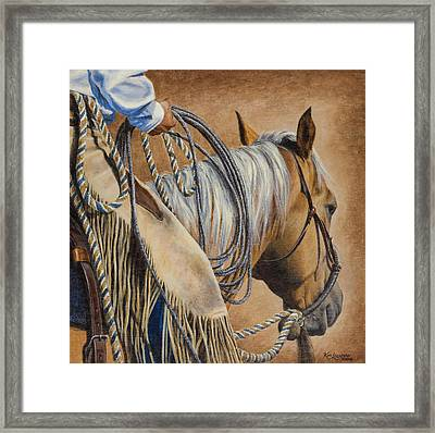 Lariat And Leather Framed Print by Kim Lockman