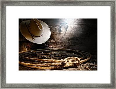 Lasso In Old Barn Framed Print