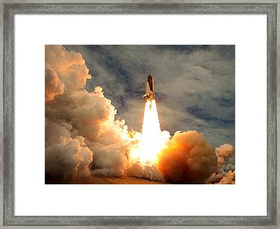 Last Blast - Final Space Shuttle Mission Framed Print by Brad Fenichel