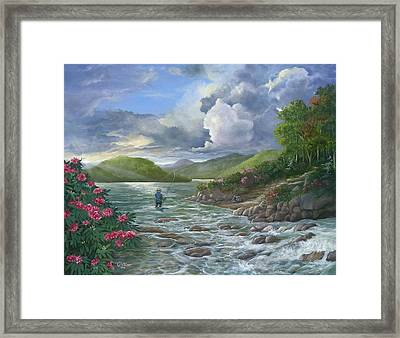Last Cast  Framed Print by Lynne Ulmer