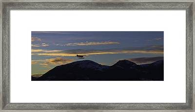 Last Flight Of The Day. Framed Print