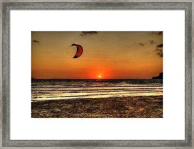 Framed Print featuring the photograph Last Glipses Of Sun At Prasonisi Bay by Julis Simo