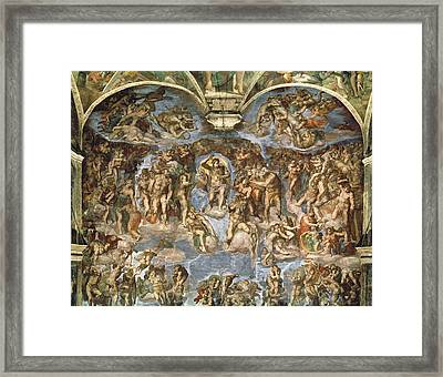 Last Judgement, From The Sistine Chapel, 1538-41 Fresco Framed Print