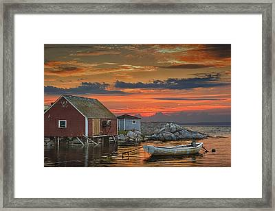Last Light At Peggy's Cove In Nova Scotia Framed Print
