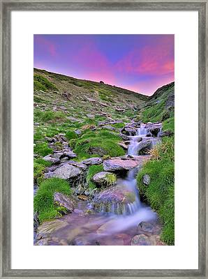 Last Light At Sunset River At The Mountains Framed Print by Guido Montanes Castillo