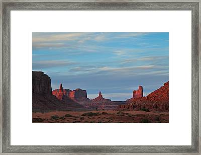 Framed Print featuring the photograph Last Light In Monument Valley by Alan Vance Ley