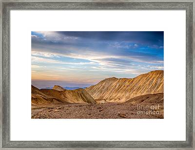 Last Light In Twenty Mule Team Canyon Framed Print by Mimi Ditchie