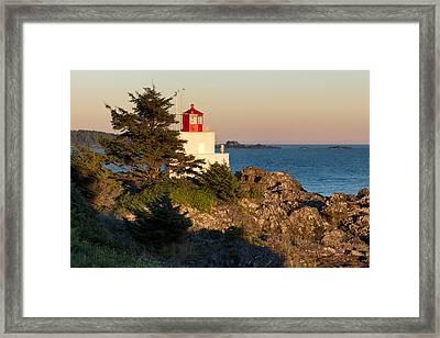 Last Light On Amphritite Lighthouse Framed Print by Kathleen Bishop