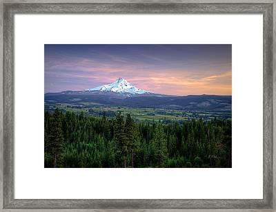 Last Light On Mt. Hood Framed Print by Joe Hudspeth