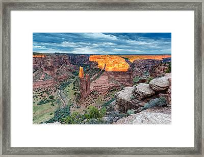 Last Light On Spider Rock Canyon De Chelly Navajo Nation Chinle Arizona Framed Print