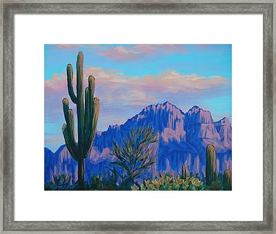 Last Light On The Superstitions Framed Print