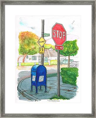 Last Mailbox In Toluca Lake, California Framed Print