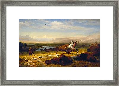 Last Of The Buffalo Framed Print by Albert Bierstadt