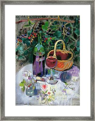 Last Of The Summer Wine Pastel On Paper Framed Print by Claire Spencer
