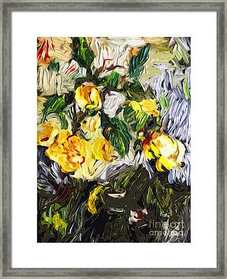 Last Of The Yellow Roses Framed Print by Ginette Callaway