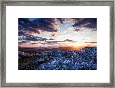 Last Rays. Sunset On Foss Mountain. Framed Print
