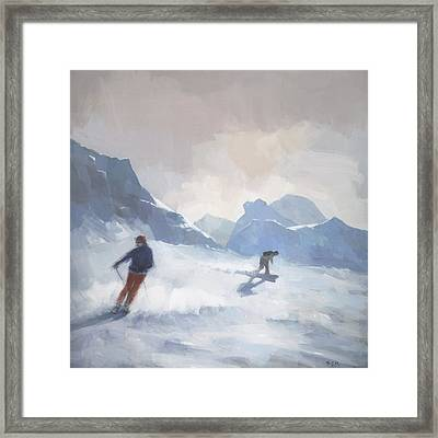 Last Run Les Arcs Framed Print by Steve Mitchell