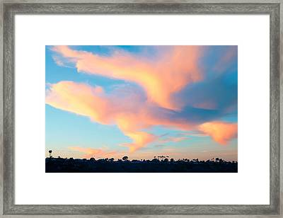 Fiery Sunset And Lenticular Cirrus Clouds - Newport Beach Backbay California Framed Print by Ram Vasudev